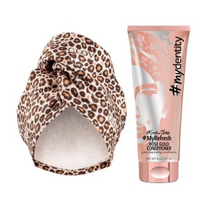 Zestaw Pobaw się kolorem z MyDentity i Glov - MyDentity MyRefresh Rose Gold + Glov Hair Wrap Cheetah